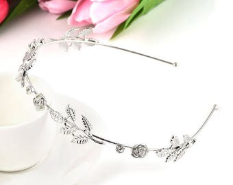 Headband roses crystal leaves design in silver