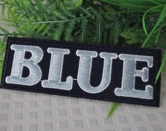 Patch embroidery Applique denim BLUE Navy text applique patch