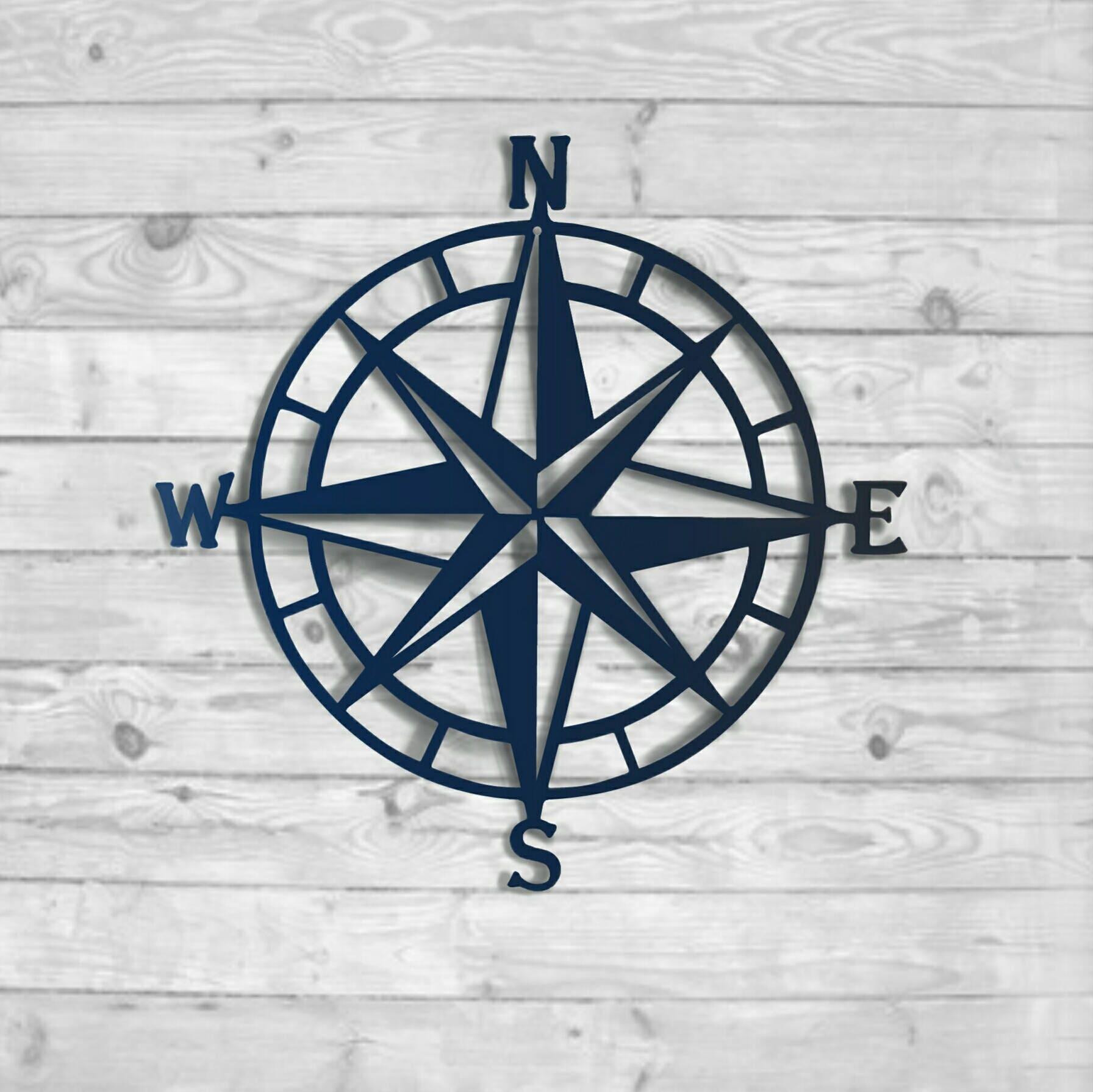 Textured Navy: Nautical Compass   Nautical Wall Art   Metal Wall Art    Nautical Rose Outdoor Metal Art  Wall Decor, HSACOMTN