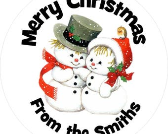 Personalised Christmas snowman stickers - 35mm