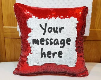Personalised magic red white cushion custom text reveal pillow message cover only surprise wording gift mother's day present hidden message