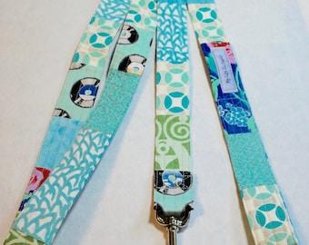 OOAK Fabric Dog Leash Large Dog Leash Dog Lead Multi Fabric Teal White Blue Green