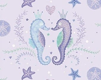 Fabric, Mermaid Dreams Seahorse, Lavender Sea Horses. Ocean Creatures, Studio E, By The Yard