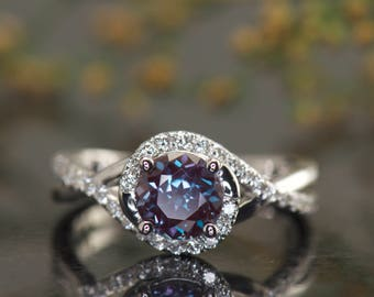 Alexandrite and Diamond Engagement Ring in White Gold, Round Brilliant Cut, Twisted Shank Design, Kara Beth Ann