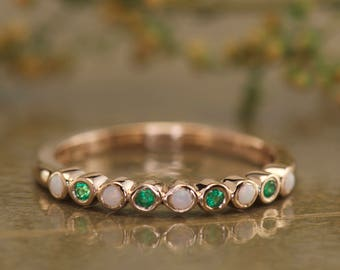 Bezel Set Emerald & Opal Mothers Ring in 14k Rose Gold, 0.20ctw, 2.4mm Wide, 5 Opal and 4 Emeralds, Wedding, Birthstone Jewelry, Cadence EO