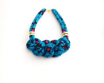 African fabric Necklace, African Necklace, African Print, Handmade Necklace, Collier Africain, African Statement Necklace