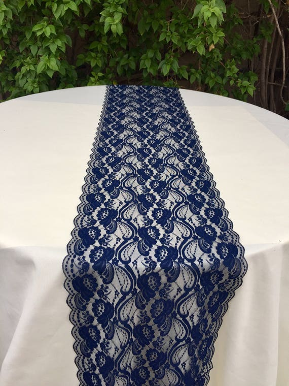 Attractive New NAVY BLUE Lace/Table Runner/3ft 11ft Long X12in Wide/Wedding Decor/Table  Decor/NAVY/Wedding Centerpiece/Ends Cut Not Sewn/Free Runner