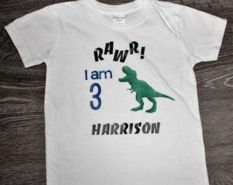 Personalized Dinosaur 3rd Birthday Shirt