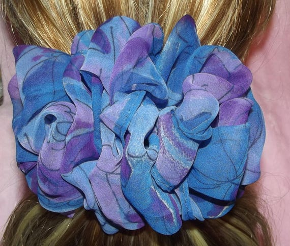 Becky Bows ~OOAK ROSETTE Barrette Hand crafted giant huge Scarf BIG hair bow Women or Girls blue purple