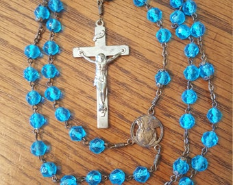 """Vintage Blue Beaded Rosary, 19"""" Long"""