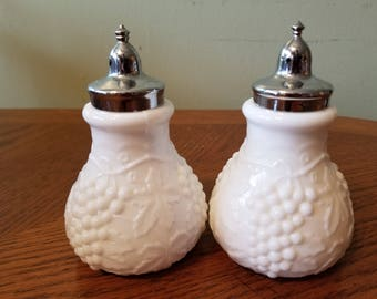 Set of Imperial Glass Salt and Pepper Shakers, Milk Glass with Grapes Pattern