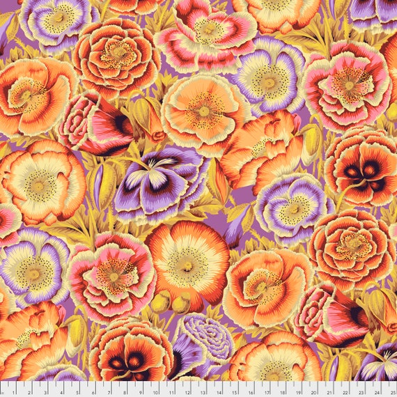 Pre-Order POPPY GARDEN Orange Philip Jacobs PWPJ095.ORANG Kaffe Fassett Collective Sold in 1/2 yd increments Pre-Order Item