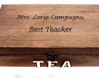 Personalized Tea Box, Wooden Tea Box, Large Tea Box, Tea Bag Box, Large Tea Chest, Kitchen Tea Box, Tea Bag Holder, Custom Wood Tea Box