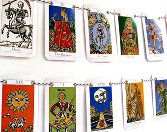 Tarot bunting.  Mystical paper garland.  Upcycled occult banner.  Metaphysical bunting.  Quirky eco-friendly room decor.  Bookshelf  trim