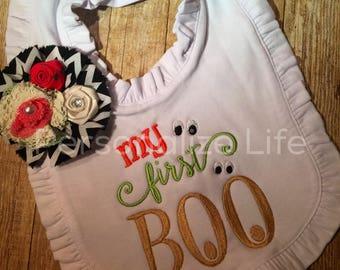 My first BOO, My first Halloween bib, Halloween bib
