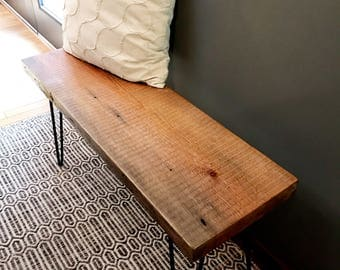 R U R A L | salvage Wood Bench with Steel Hairpin Legs