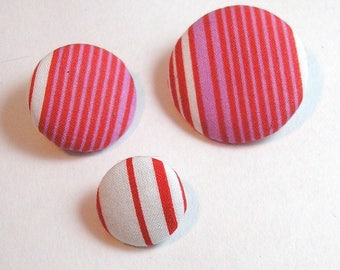 Button fabric stripes 16 mm
