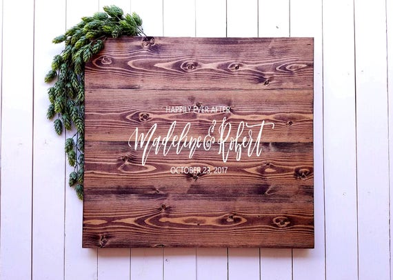 Wedding Guest Book Sign Custom Handlettered Name Sign Happily Ever After Guestbook Sign Guest Book Alternative Wedding Calligraphy Sign