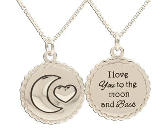 Sterling Silver Moon and Back Charm Necklace a Special Gift with Gift Box  (BCN-Moon & Back)