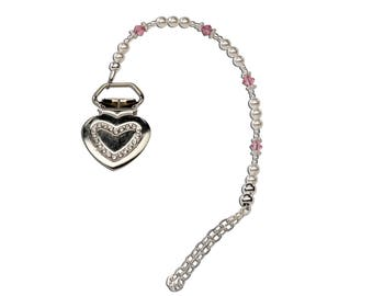Sterling Silver Pearl and Pink Crystal with a Heart Binky Clip Comes in a Gift Box for Baby Shower (BC-Isabelle)