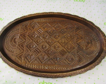 Vintage Ornate Carved Wood Tray