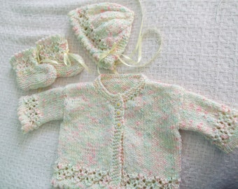 Baby Layette Set; Infant Sweater Set; Lacy Sweater Set for Baby; 3 Piece Sweater Set for Baby; Newborn Sweater Set