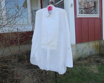 "Vintage 1950s white dress shirt tuxedo 53"" chest C.O. Gooding Indianapolis IN original cleaning box (11417)"