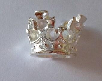 Celtic Viking Royal Crown King Queen Beard Bead Dread Bead Silver Large Hole