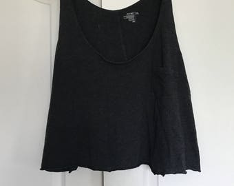 charcoal gray loose crop tank top