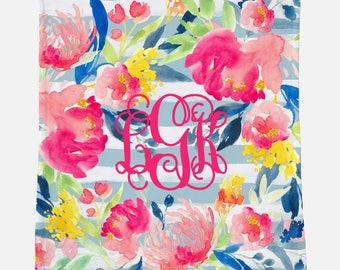 Monogrammed Blanket for Adult | Blue Floral | Monogrammed Blanket | Monogrammed Gift
