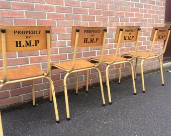 Vintage Industrial Stacking Chairs Property of H.M.P