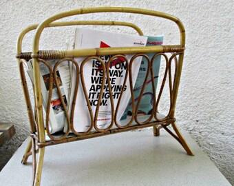 Bamboo Magazine Rack , Vintage Newspaper Rack , Bamboo Furniture , Vintage  Bamboo Rack Israel 1960s