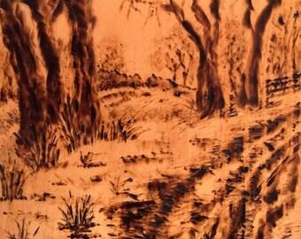 "Through the Forest, Woodburned Landscape, 6""x4"" (15 cm x 10 cm)"