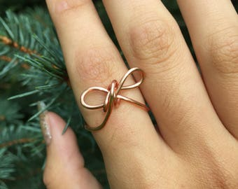 Rose gold bow tie ring, rose gold ring, bow, bow tie, bow ring, bow tie ring, cute ring, adjustable ring
