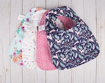 Baby Bibs Handmade - Valentine's Day Baby - Baby Girl Bibs - Unicorn Baby Gift - Baby Bib Set - Custom Baby Bib - Baby Bibs Handmade