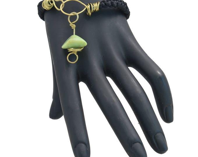 Chrysoprase Macrame Bracelet, Handmade Bracelet