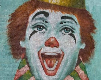 Vintage Circus Clown Oil Painting Framed Artist Signed