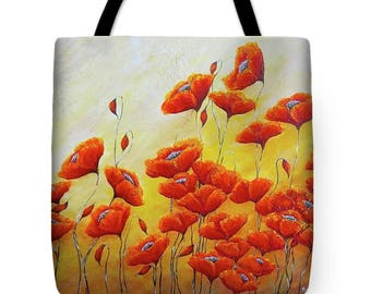 poppy tote bag, large shopper beach bag, poppies woman's bag, Original poppy art by Nancy Quiaoit at Nancys Fine Art