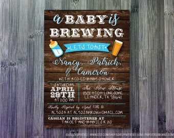 Baby is a Brewing Baby Shower Invitation   BAS37