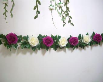 Silk Flower Garland,Fuchsia,Rose Garland,Wedding Arch Garland,Swag,decoration,Floral Greenery Garland,Hanging Flower,Curtain,Centerpiece