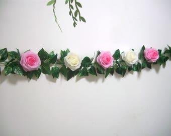 Wedding Garland,Pink,Silk Flower Garland,Rose Garland,Wedding Arch Flower decor,Swag,Hanging Floral Garland,Backdrop,Curtain,Centerpiece,