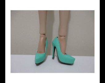 "mint green high heel shoes for 16""Sybarite /AvantGuard dolls"
