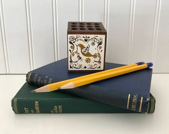 Vintage Pencil Holder Cube, Wood 12 Pencil Holder, Pencil Stand with Sharpener, Folk Art, Scandanavian, Desk Office Artist Tool Organizer