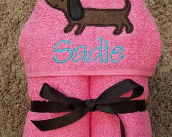 Personalized Pink Dachshund Hooded Towel