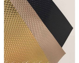 Rose Gold Mermaid Scales Leatherette Fabric Sheet - Thick 0.9mm