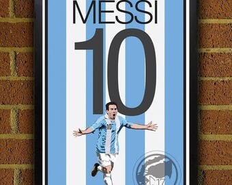 ON SALE 15% OFF Lionel Messi 10 Poster - Argentina - Argentina  Soccer Poster- 8x10, 13x19, poster, art, wall decor, home decor, world cup