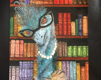 Wood Panel, 8 x 10,  Emu the Librarian, whimsical portrait of a bird with cat eye glasses, bird library books