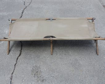Vintage Army Cot Folding Wooden Cot Canvas Camping Cot