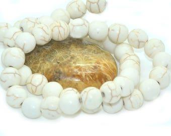 30 8 m beige veined white howlite beads