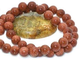 10 8 m smooth round goldstone beads